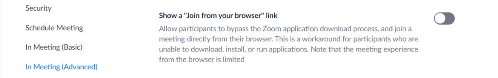 Disable Join from Browser